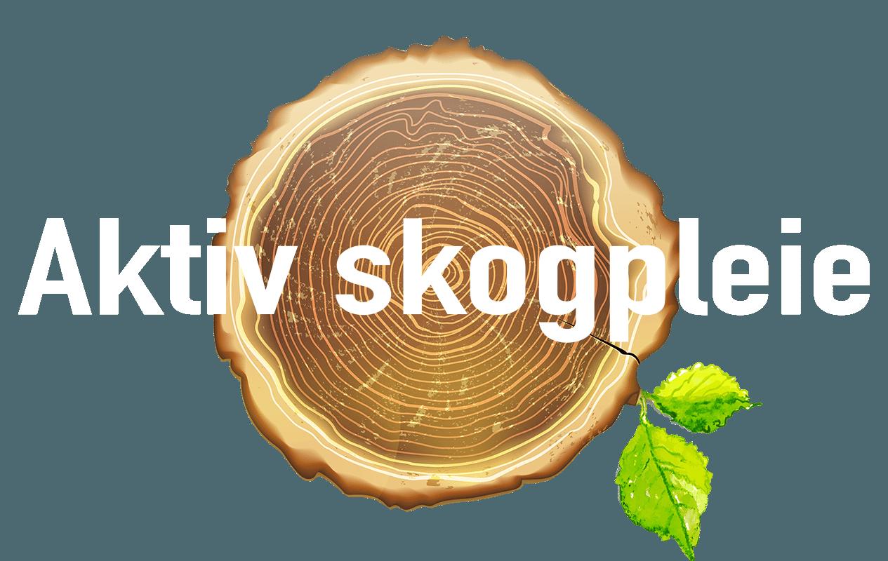 Skogpleie, trefelling, stubbefresing, skogbruk, logo aktiv skogpleie